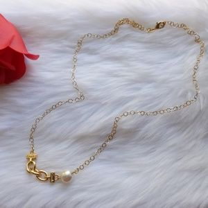 Coach Jewelry - Coach Link Chain Pearl Gold Plated Necklace New